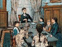 איור של חינוך ביתי מסוף המאה ה-19. מאייר אנונימי