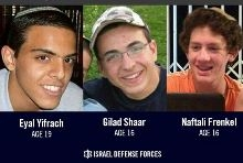 """צילום שלושת הנערים החטופים שהפיץ דובר צה""""ל"""