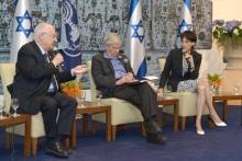 """הנשיא ראובן ריבלין (משמאל), אהרן ברק וסוזי נבות. צילום: מארק ניימן, לע""""מ"""