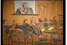 defense table...Yassar Arafat on screen